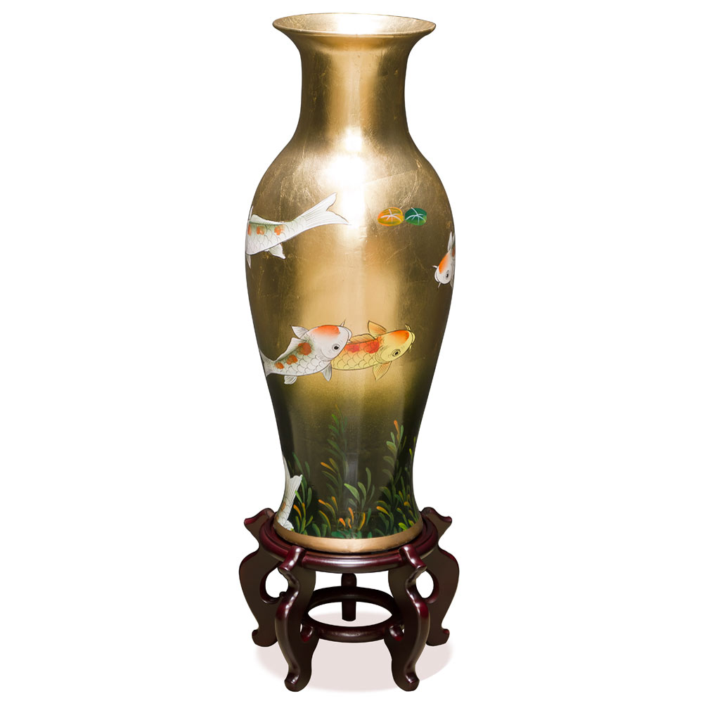 24in Hand-Painted Prosperity Koi Fish Porcelain Vase
