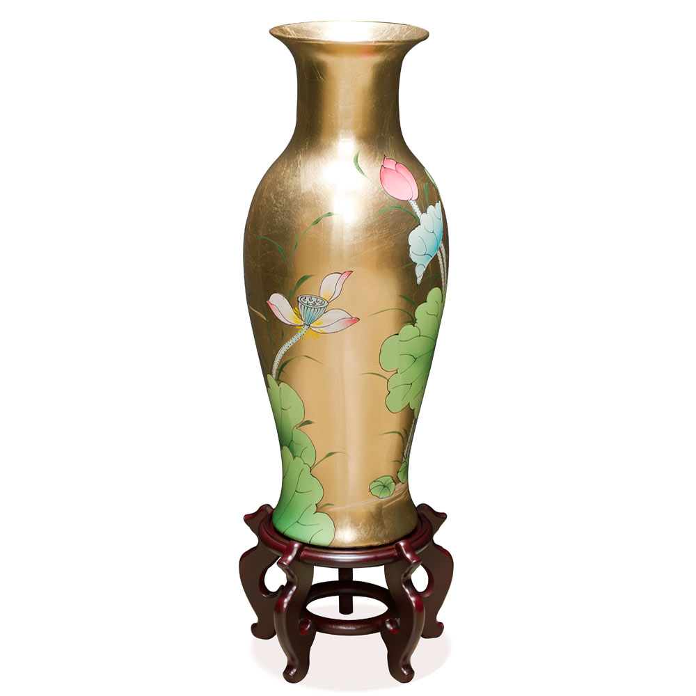 24 Inch Gold Leaf Tranquility Lotus Pond Oriental Vase