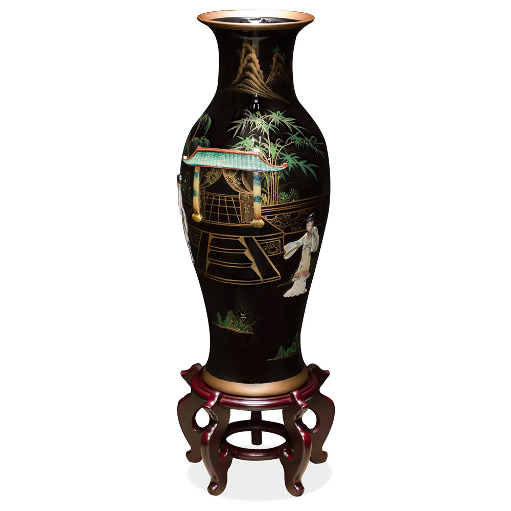 24in Black Lacquer Mother of Pearl Motif Porcelain Vase