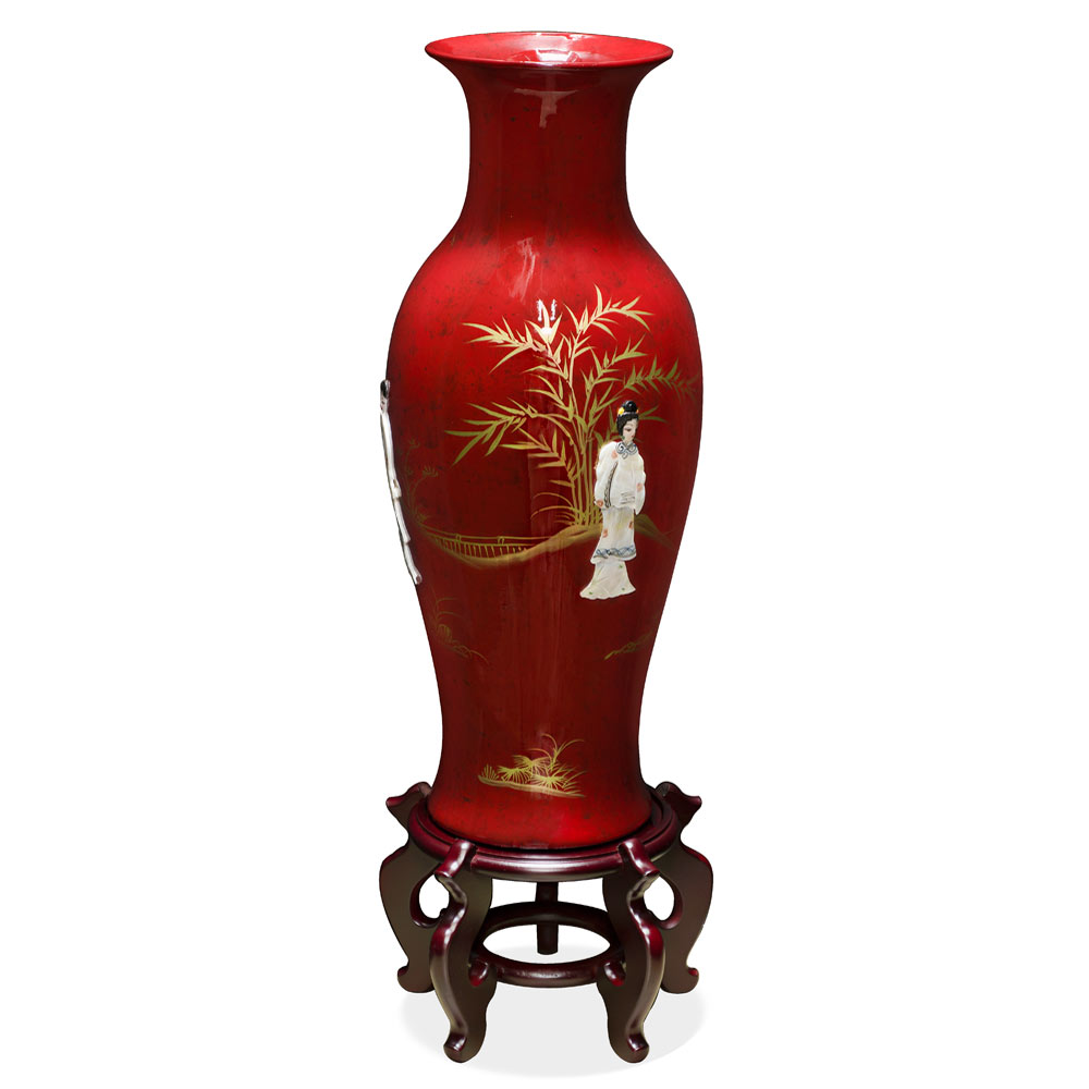24 Inch Red Lacquer Mother of Pearl Porcelain Vase