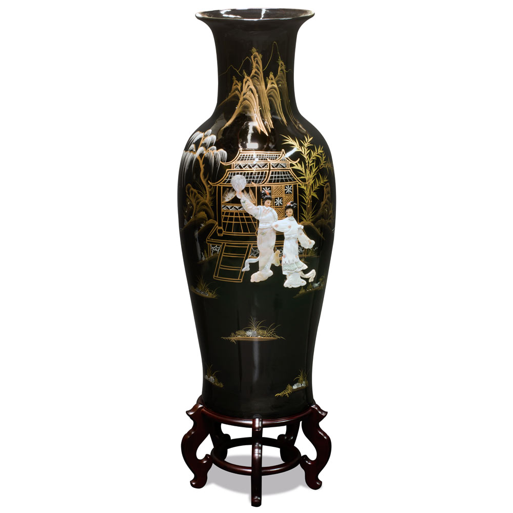Asian black lacquer ladies mother of of pearl vase