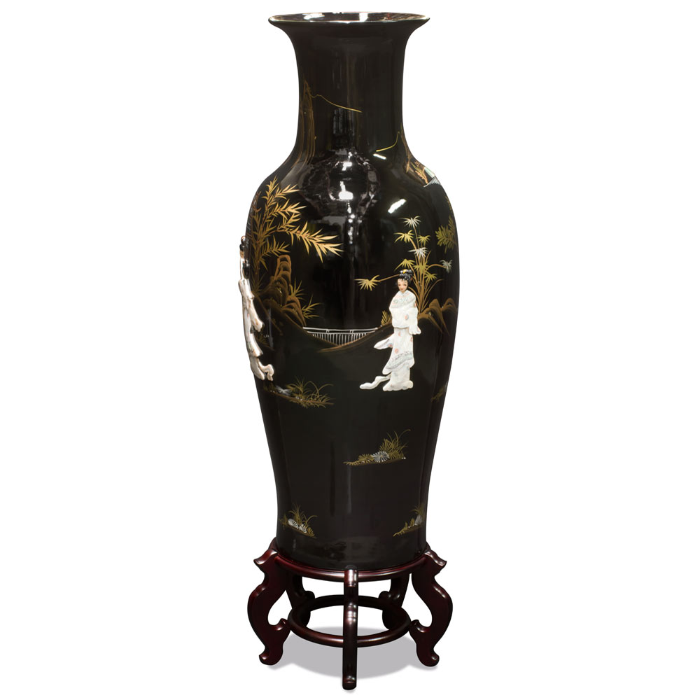 37.5 Inch Black Lacquer Mother of Pearl Oriental Porcelain Vase