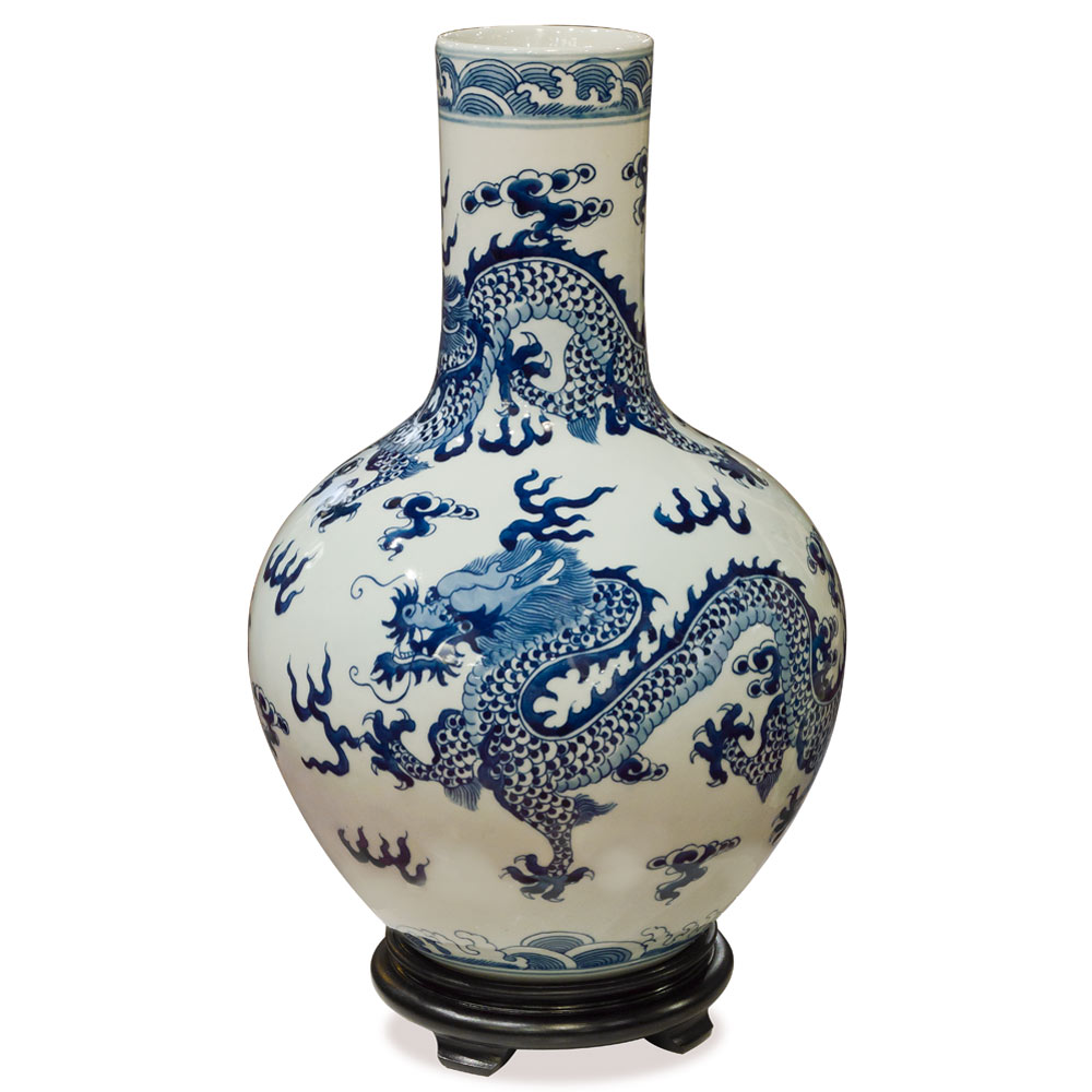 Blue and White Porcelain Imperial Dragon Motif Temple Vase