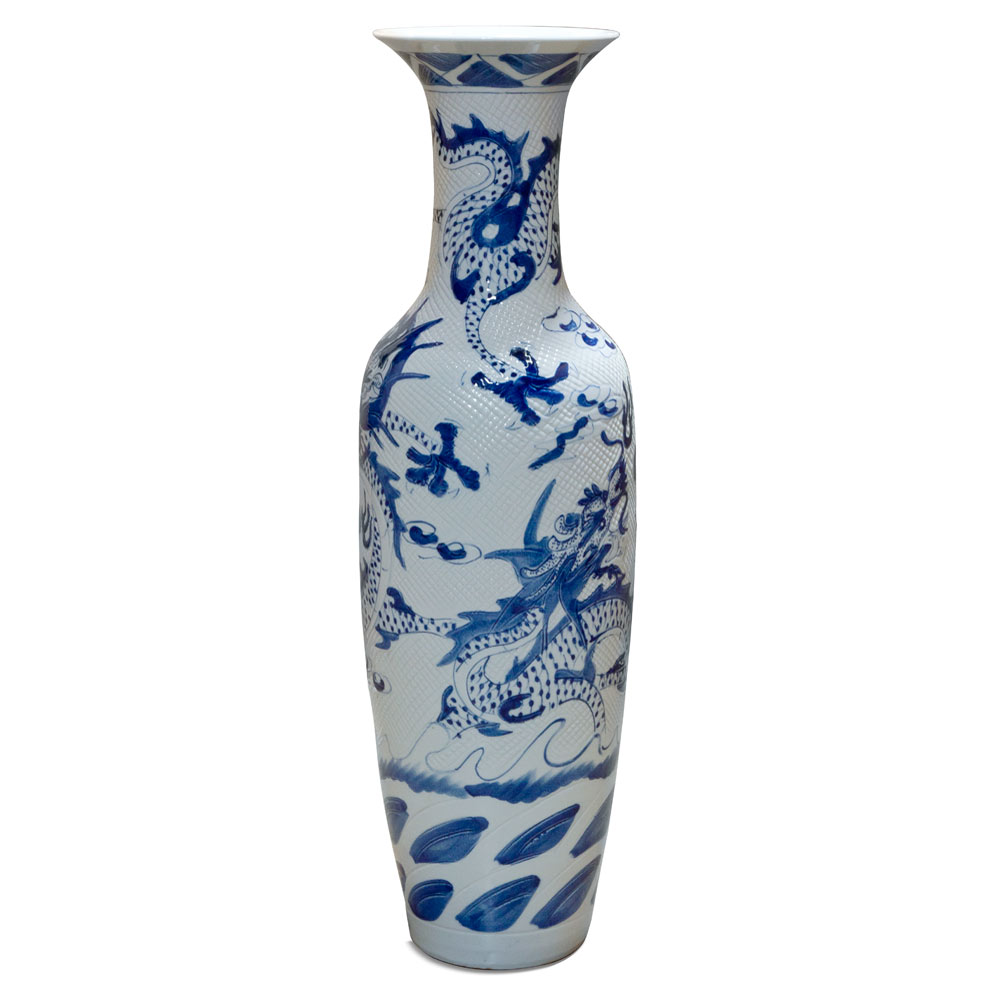 48.5 Inch Blue and White Porcelain Imperial Dragon Motif Jingdezhen Vase