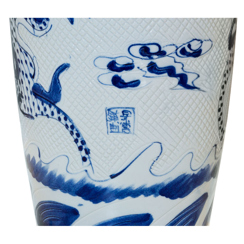 55 Inch Blue and White Porcelain Imperial Dragon Motif Jingdezhen Vase