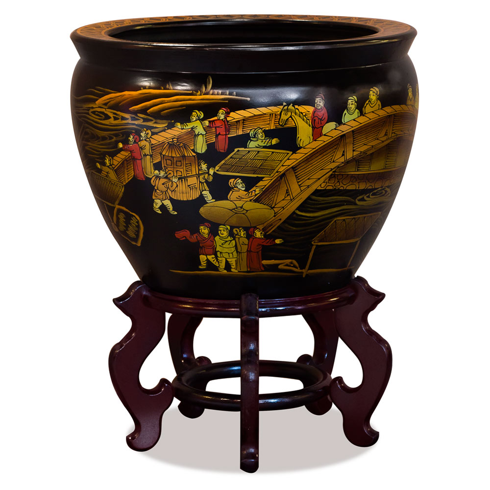14.5 Inch Porcelain Painted Chinoiserie Scenery Motif Fishbowl Planter
