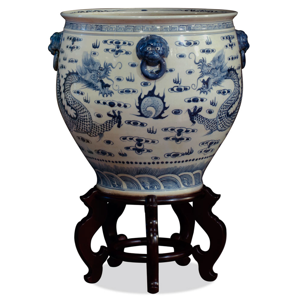 16 Inch Blue and White Porcelain Prosperity Dragon Fishbowl Planter