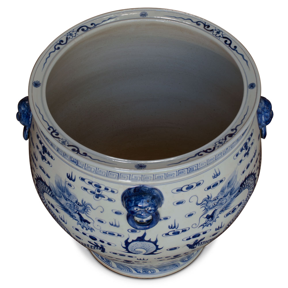 15.75 Inch Blue and White Porcelain Prosperity Dragon Fishbowl Planter