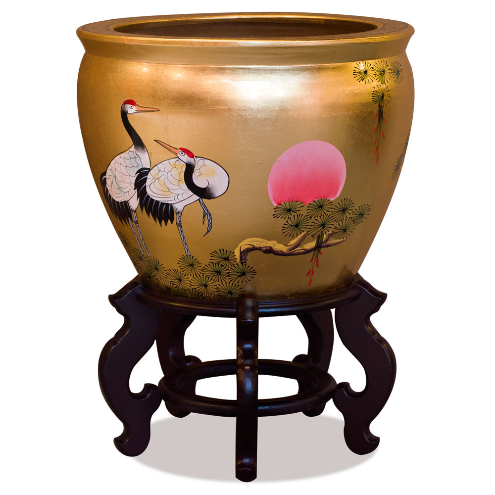 16 Inch Gold Leaf Longevity Cranes Fishbowl Planter