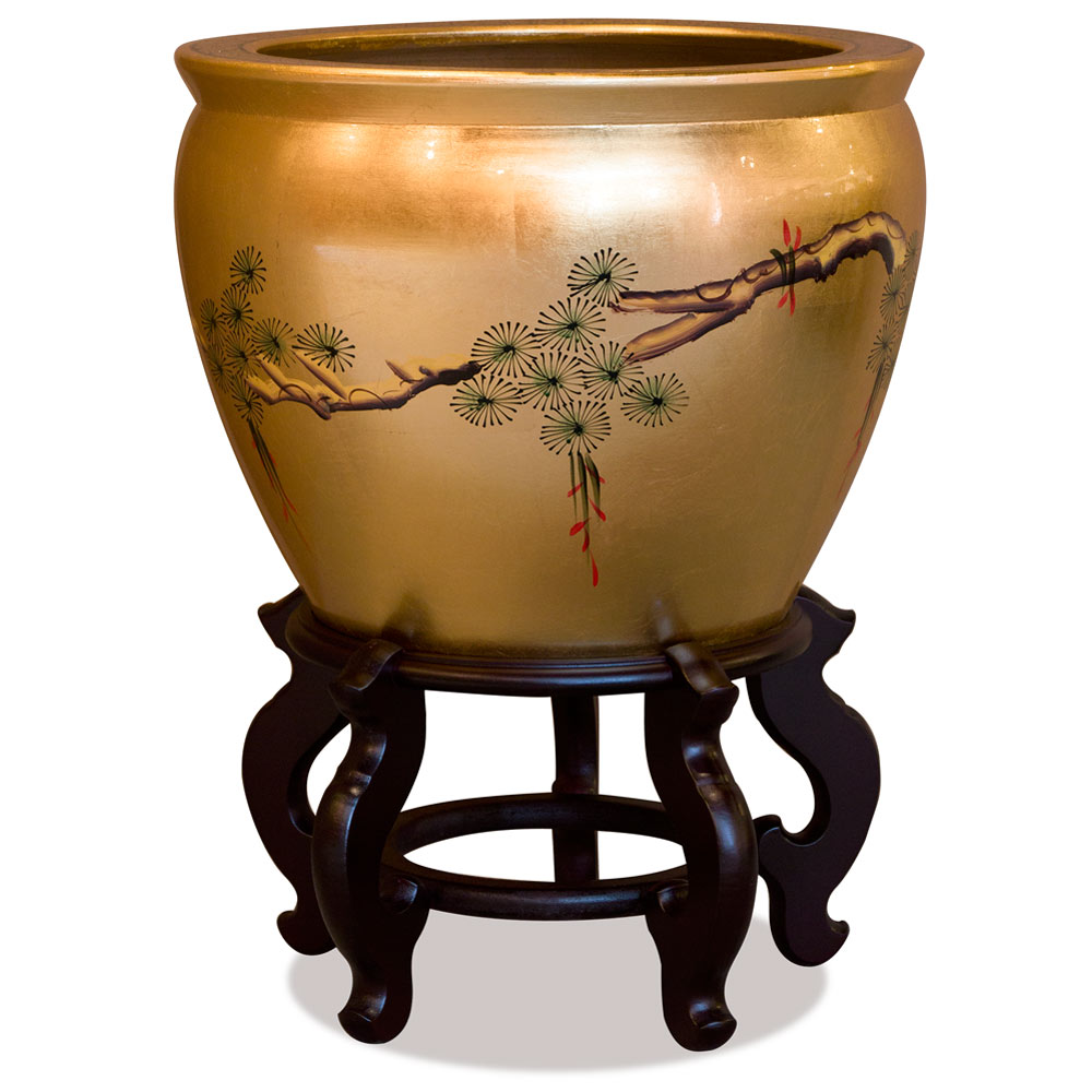 16 Inch Gold Leaf Longevity Cranes Chinese Fishbowl Planter