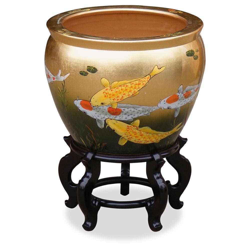 16in hand painted prosperity koi fish design fishbowl for Koi fish bowl