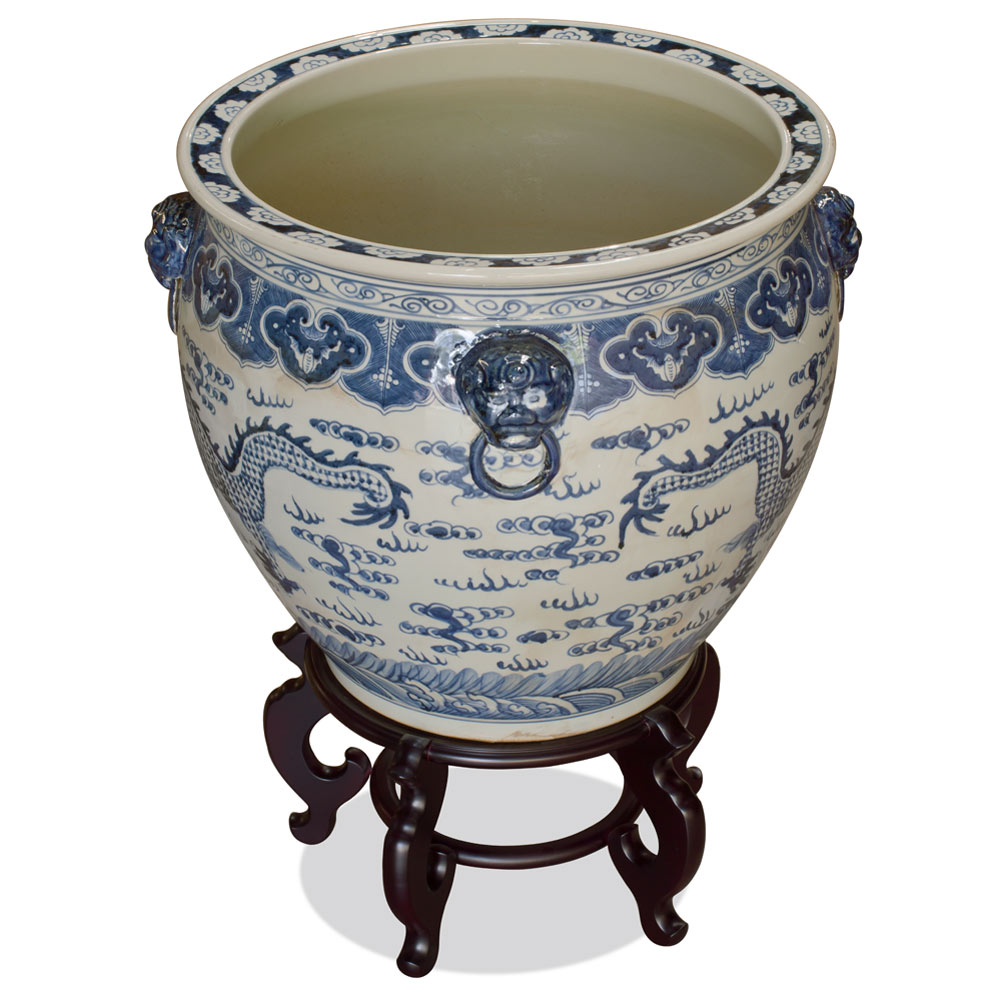 22 Inch Blue and White Porcelain Imperial Dragon Chinese Fishbowl Planter