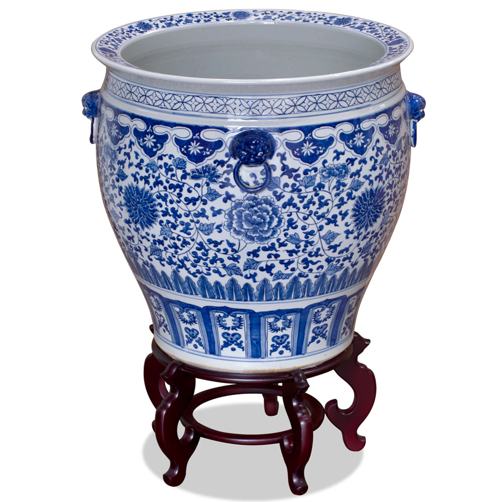 Blue and White Porcelain Peony Motif Fishbowl Planter