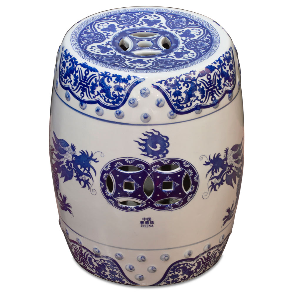 Blue and White Porcelain Imperial Dragon Garden Stool