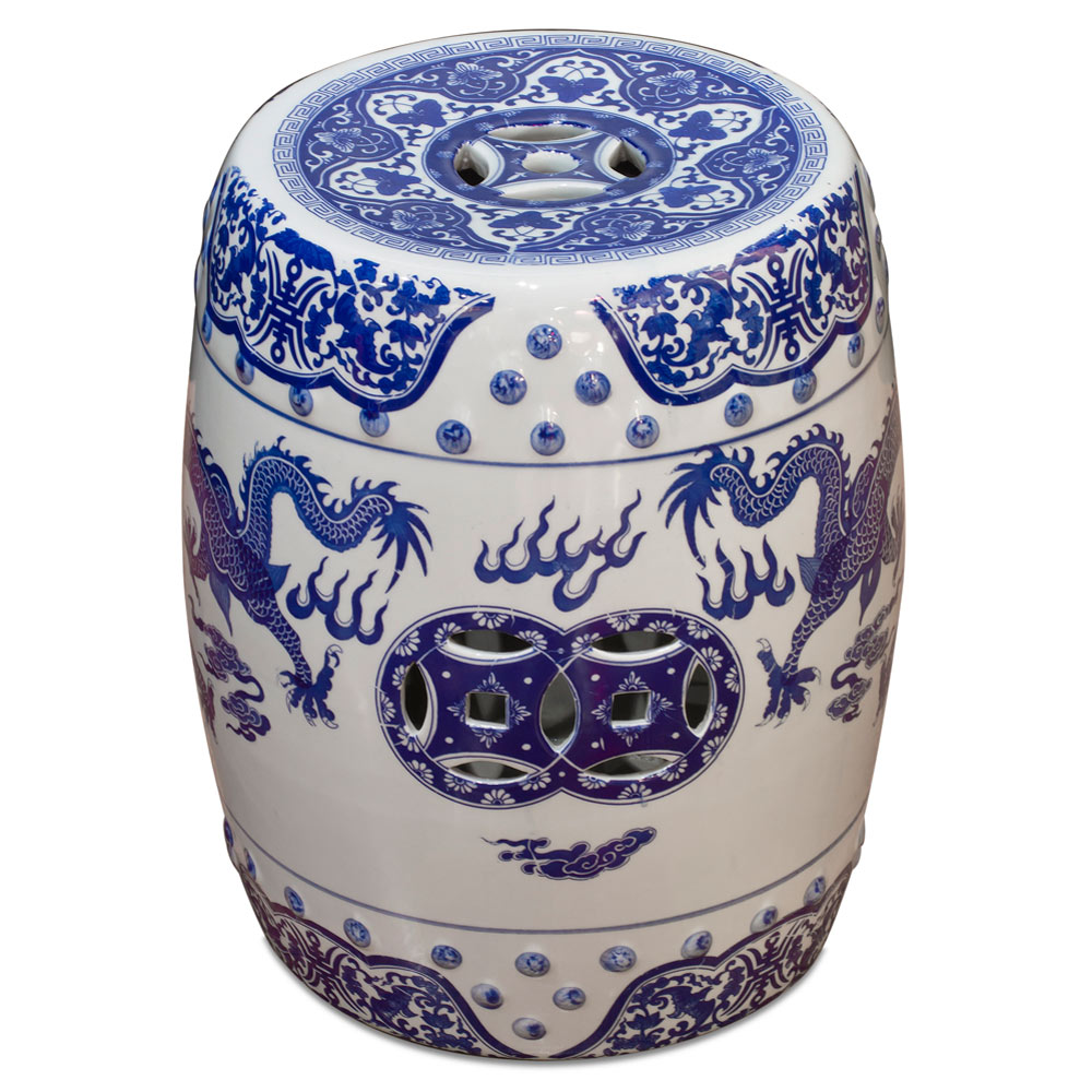 Blue and White Porcelain Imperial Dragon Motif Garden Stool