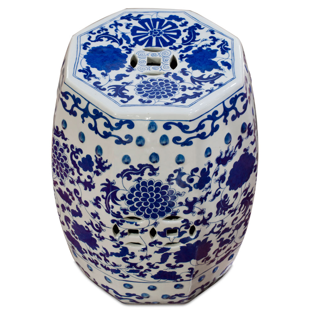 Blue & White Porcelain Octagonal Chinese Palace Garden Stool with Flower and Vine Motif