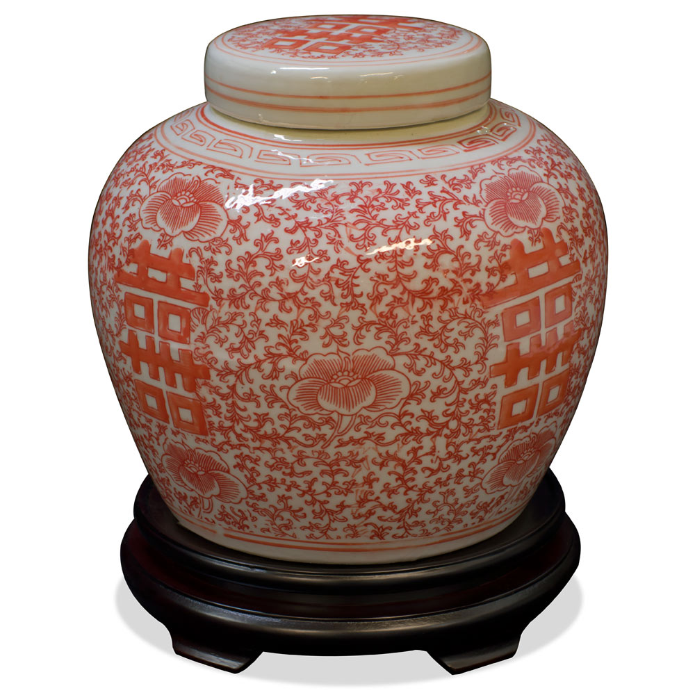 Red and White Porcelain Chinese Double Happiness Jar