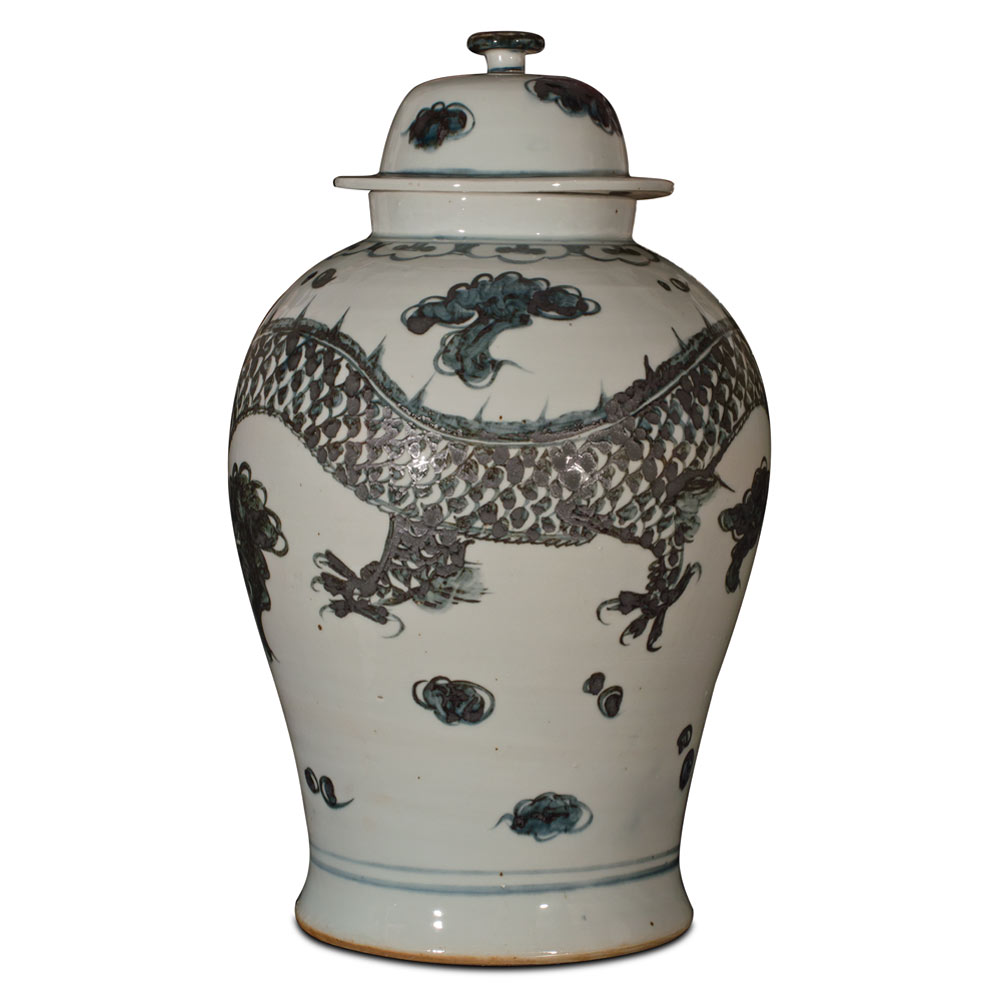 Black and White Porcelain Imperial Prosperity Dragon Jar
