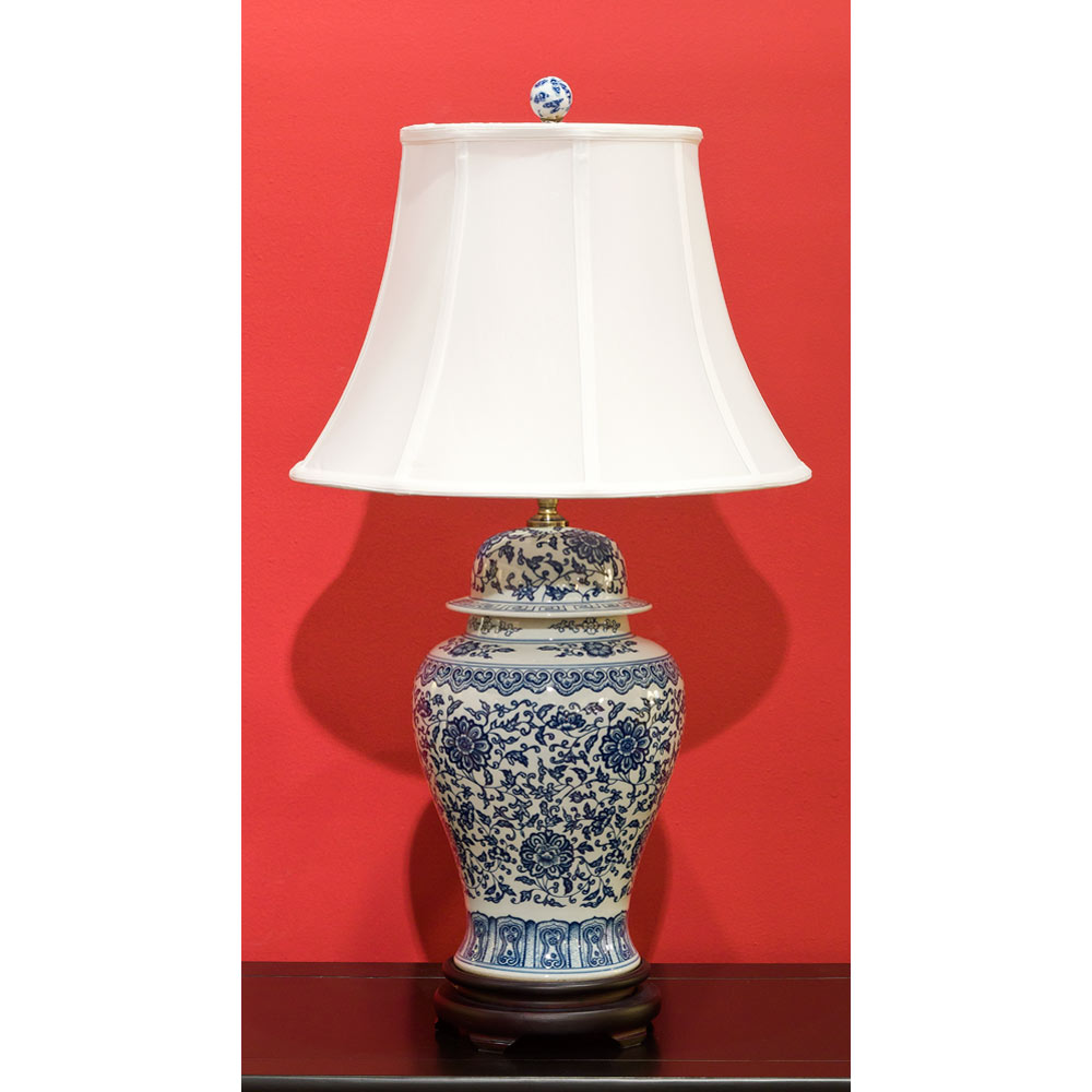 Blue and White Porcelain Lamp w/ Silk Shade