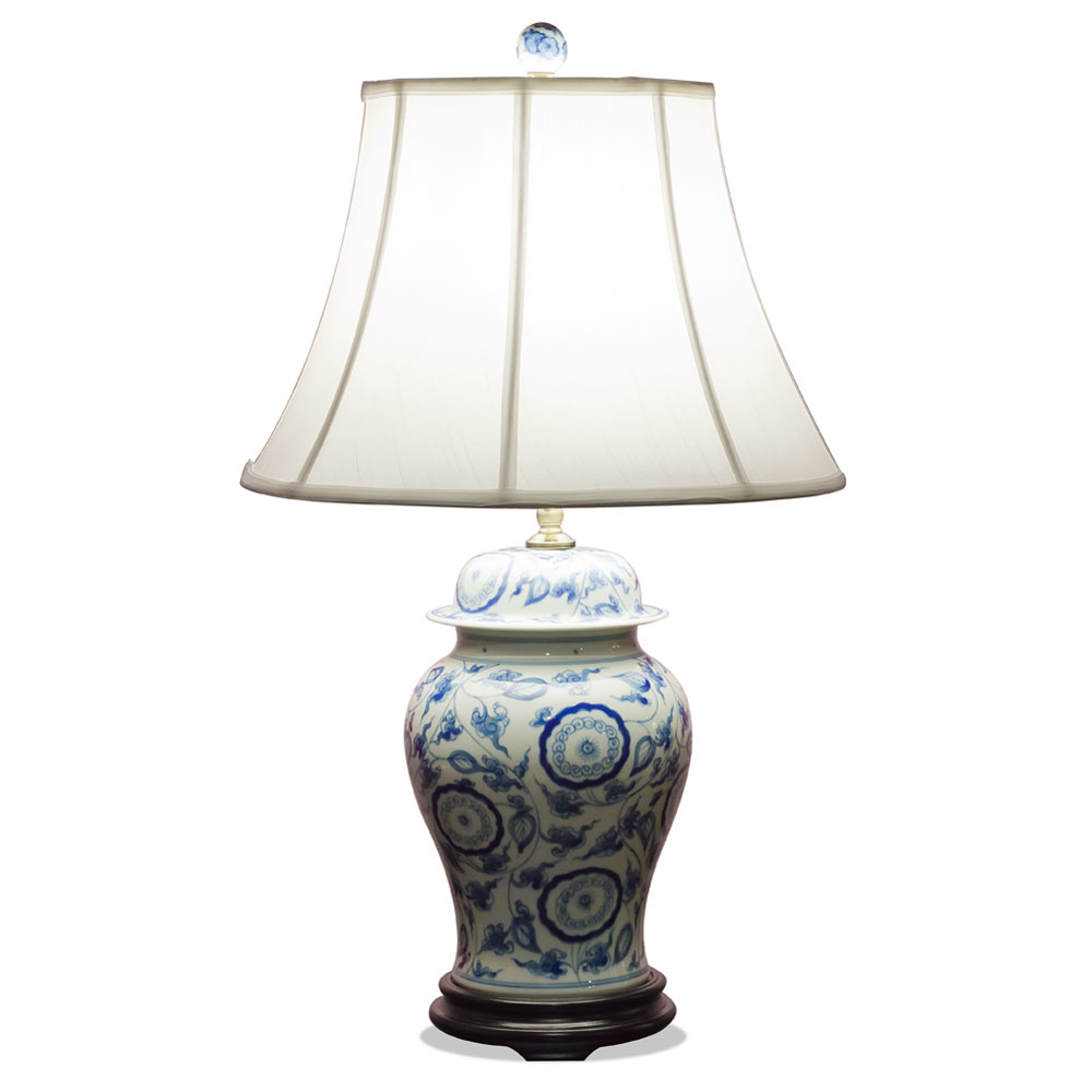 Blue and White Porcelain Ginger Jar  Lamp w/ Silk Shade