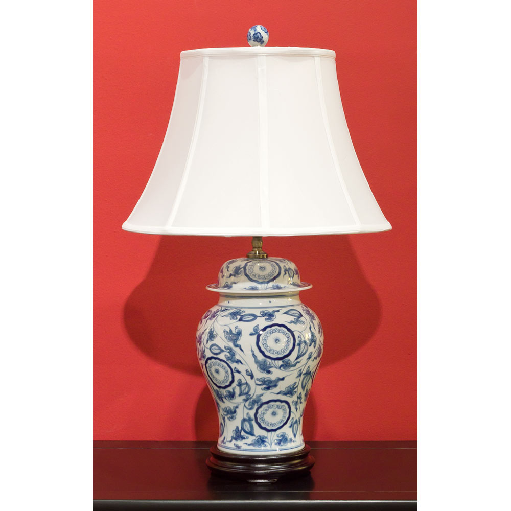 Blue And White Porcelain Ginger Jar Lamp W Silk Shade