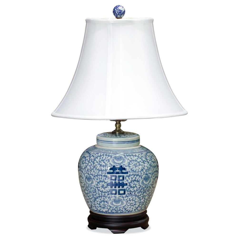 Blue U0026 White Double Happiness Porcelain Lamp