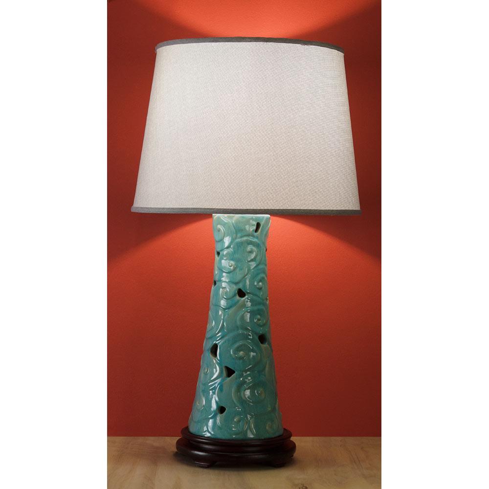 Blue Ceramic Chinese Cloud Lamp