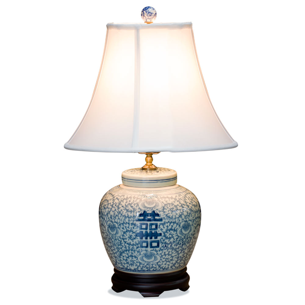 Blue and White Double Happiness Asian Porcelain Lamp