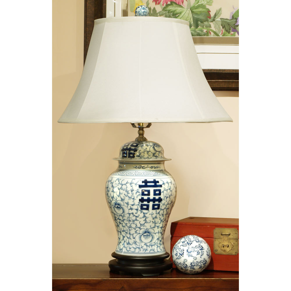 Blue and White Double Happiness Porcelain Lamp