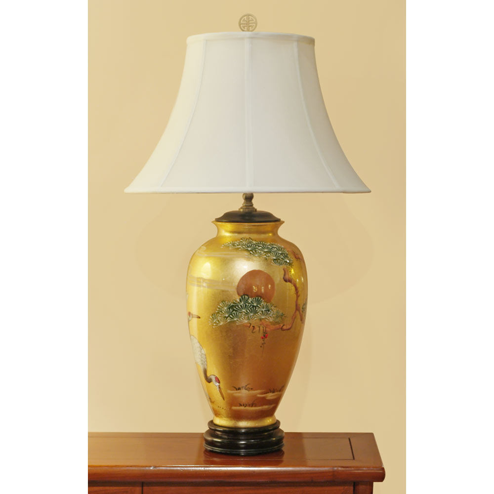 Gold Leaf Longevity Cranes Motif Chinese Ceramic Lamp