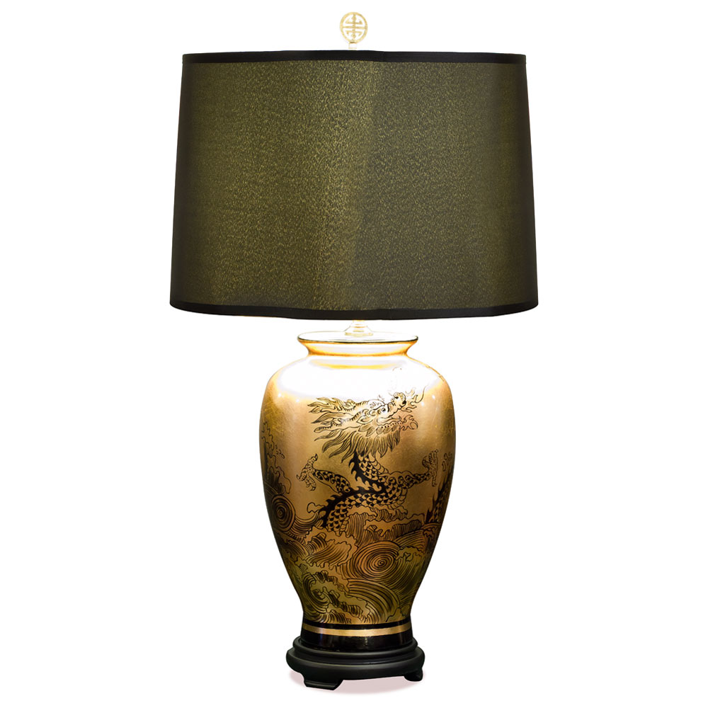 Gold Leaf Dragon Ceramic Table Lamp
