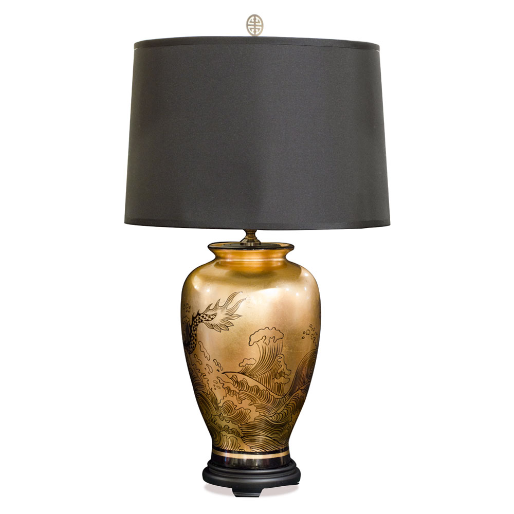Gold Leaf Imperial Dragon Motif Chinese Ceramic Lamp