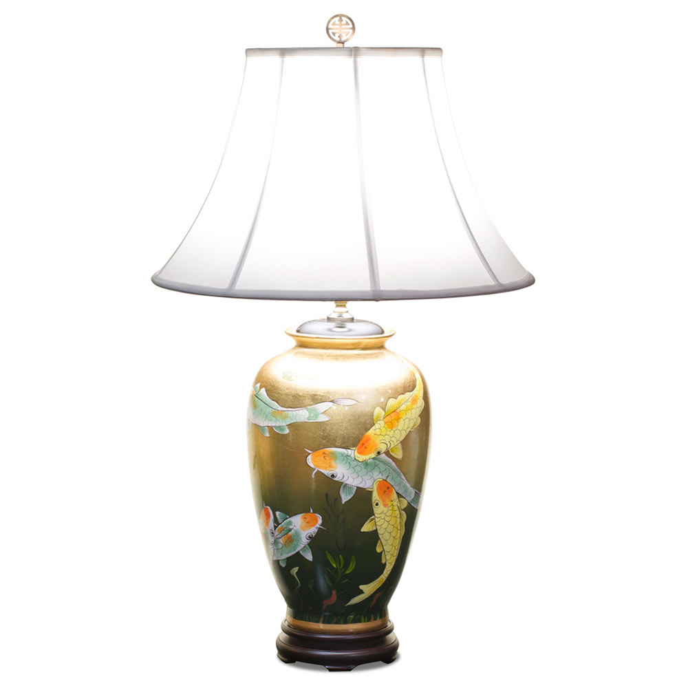 Gold Leaf Koi Fish Lamp with Shade