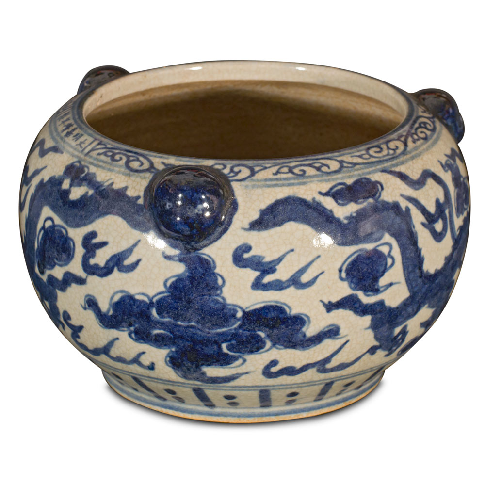 Blue and White Porcelain Double Dragon Planter