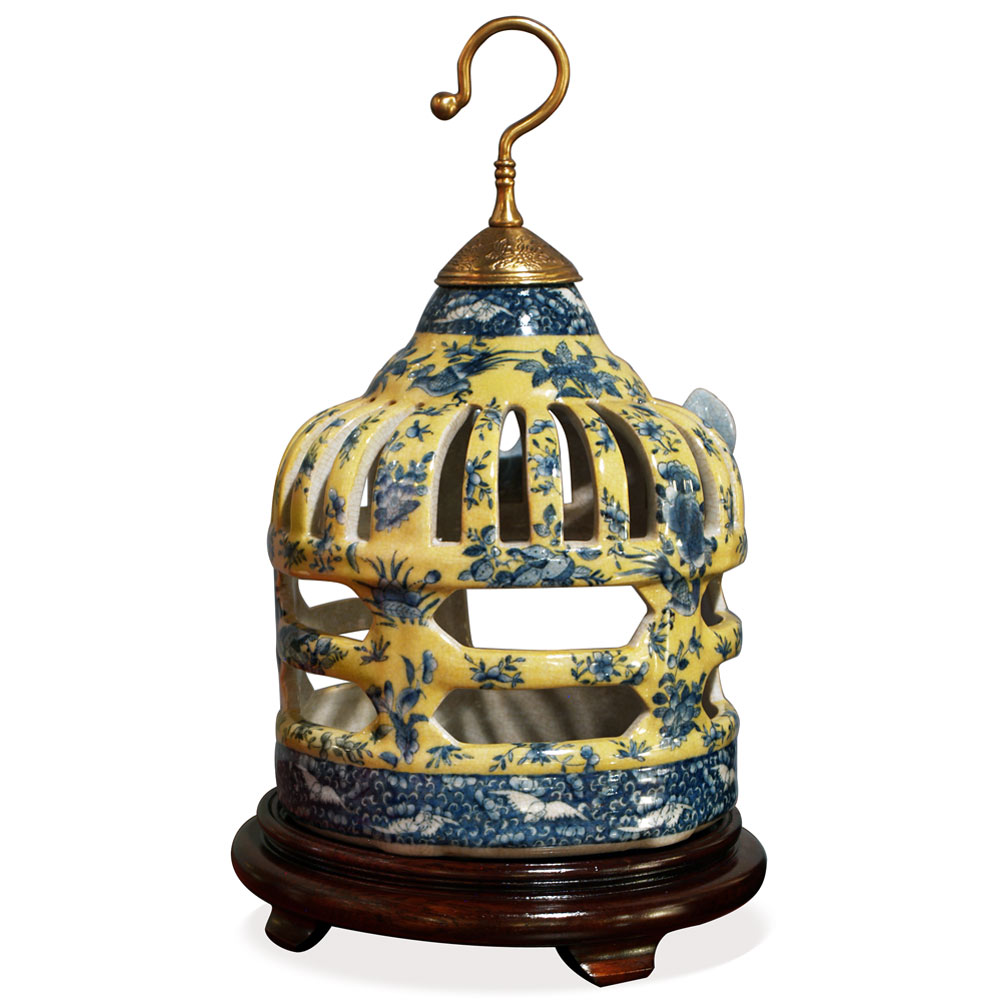 Famille Jaune Porcelain Bird Cage Asian Candle Holder