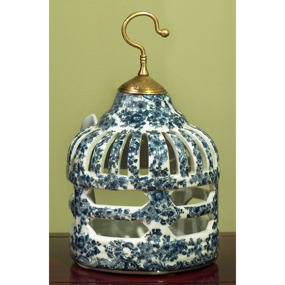 Blue and White Porcelain Bird Cage Candle Holder