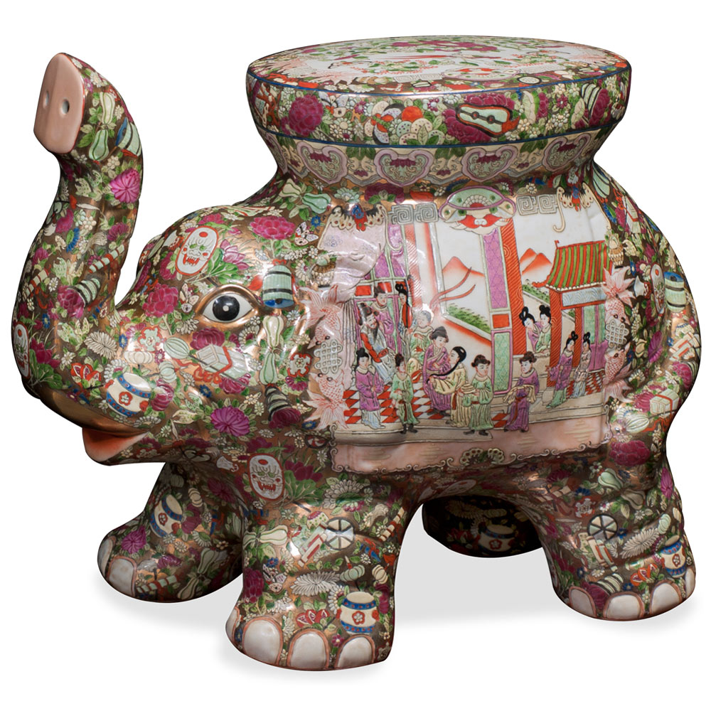 Hand-Painted Porcelain Elephant Seat