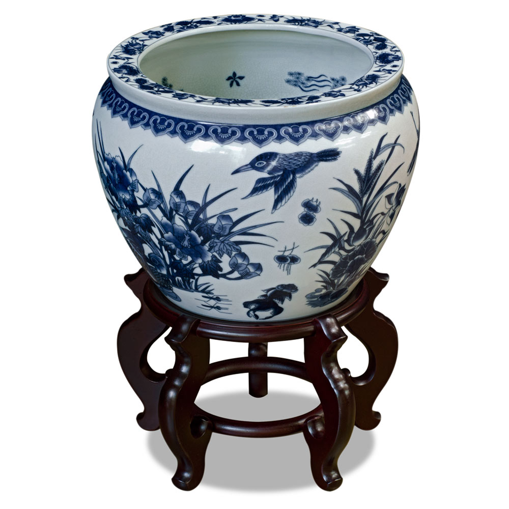 14 Inch Blue and White Porcelain Lotus Pond Chinese Fishbowl Planter