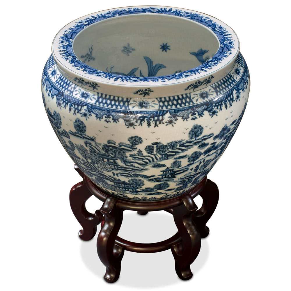 15.5 Inch Blue and White Porcelain Canton Scenery Fishbowl Planter
