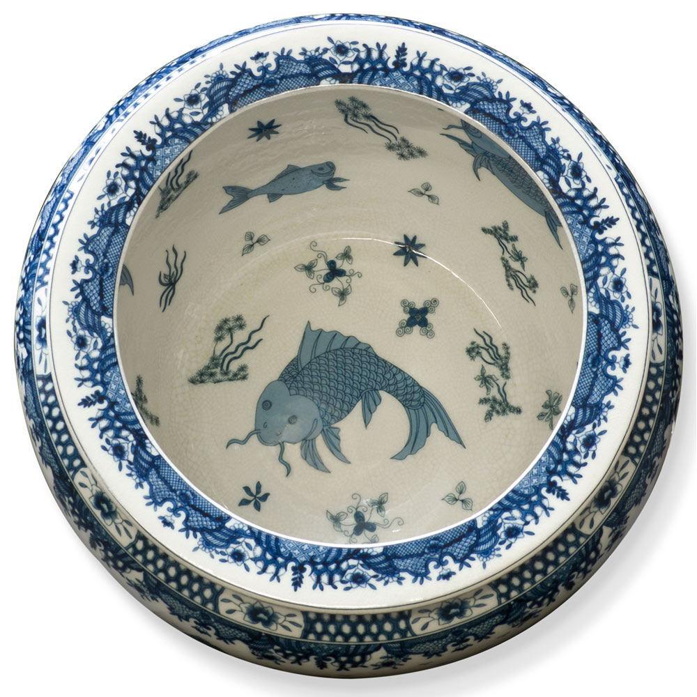 15.5in Blue Canton Porcelain Fishbowl