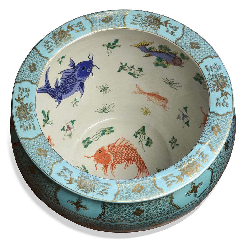 15.5 Inch Blue Porcelain Goldfish Pond Chinese Fishbowl Planter