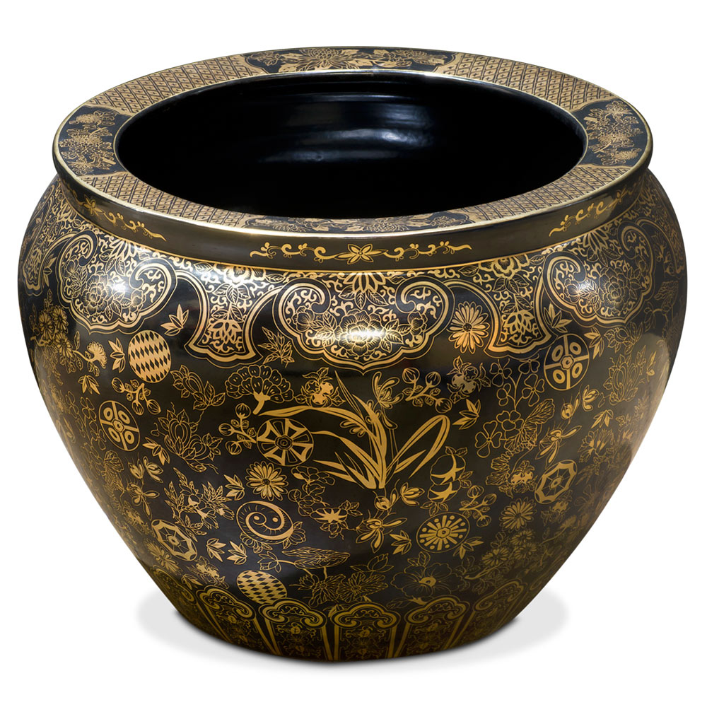 15 Inch Black and Gold Leaves and Vines Chinese Fishbowl Planter