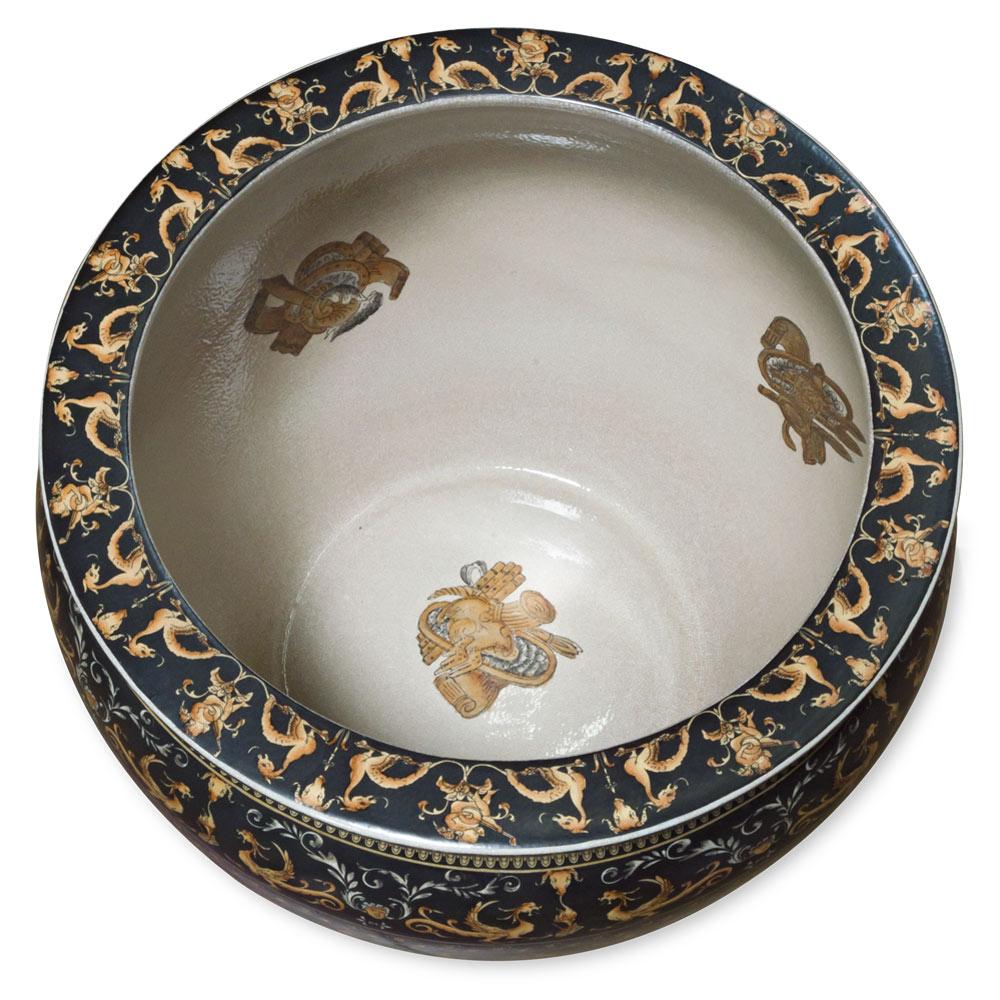 17.5 Inch Porcelain Renaissance Chinese Fishbowl Planter