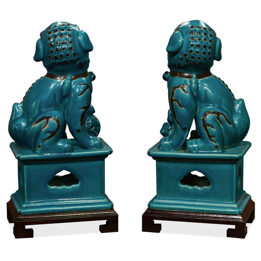 Blue Peking Temple Foo Dog Oriental Figurine Set