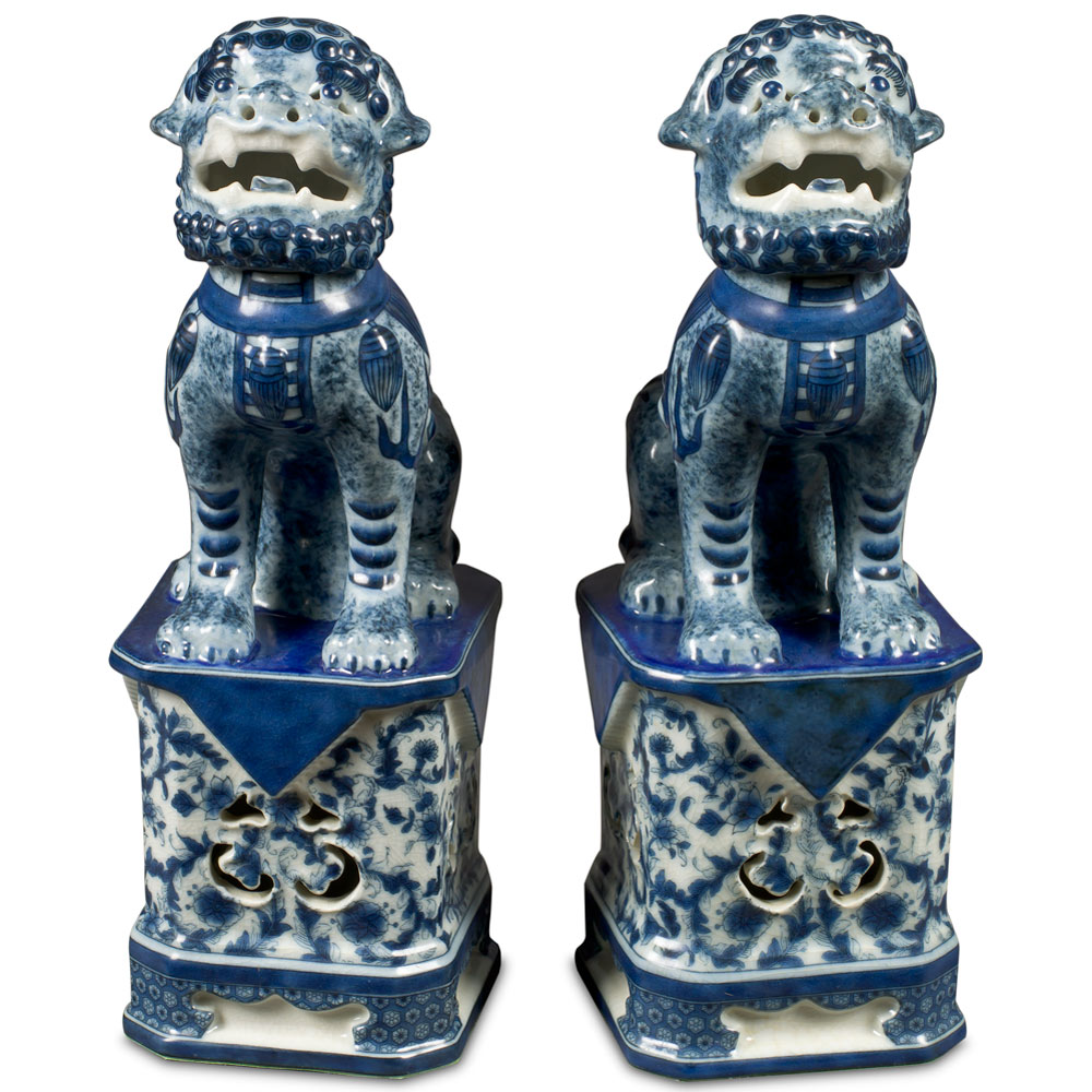 Blue and White Canton Porcelain Foo Dog Set