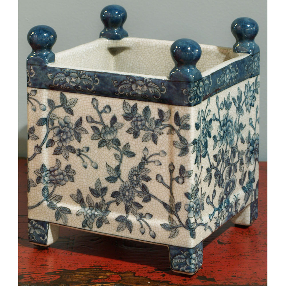 Blue and White Canton Chinese Porcelain Flower Planter
