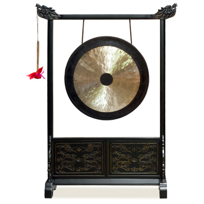Brass Imperial Palace Chinese Gong With Dragon Embellished Frame