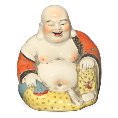 Porcelain Happy Buddha Asian Figurine in Orange and Black Robe