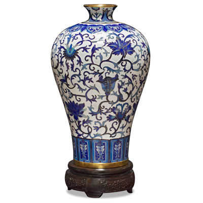 Blue and White Imperial Vine Motif Cloisonne Vase