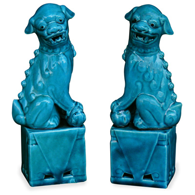 Blue Porcelain Foo Dog Set